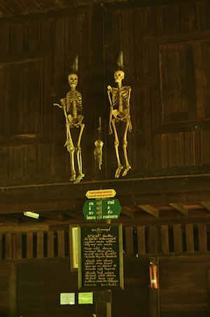 Human Skeletons Suan Mokkh temple in Chaiya subdistrict of Surat Thani, Thailand.