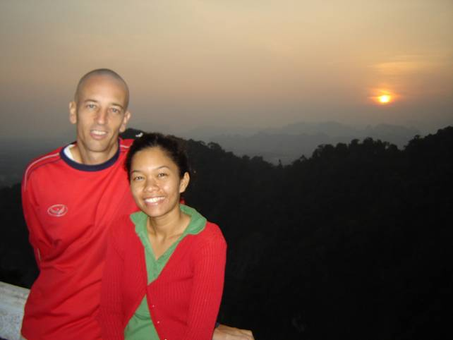 Meditation teacher, Vern Lovic in Krabi, Thailand with his wife, Nou.