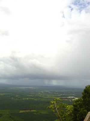Rain clouds coming at Wat Tham Seua Buddhist temple in Krabi, Thailand.