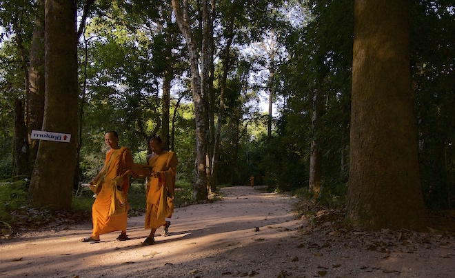 Theravada Buddhist Monks walking at a forest temple called Wat Suan Mokkh in Chaiya, Thailand.