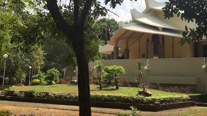 Front of large Sala at Wat Nong Pah Pong temple in Warin Chamrap, Ubon Ratchathani province, Thailand.