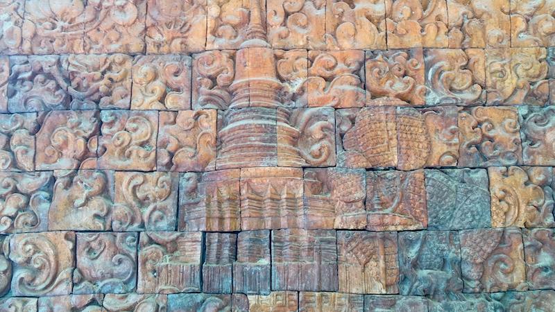 Decorative wall composed of block art at Wat Nong Pah Pong in Ubon, Thailand.